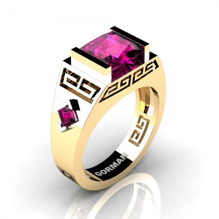 Gorman-Jewelry-Womens-14K-Yellow-Gold-Platinum-3-0-Carat-Princess-Cut-Pink-Sapphire-Wedding-Ring-G1298F-14KYGPS