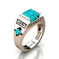 Womens Modern 14K Rose Gold 3.0 Carat Princess Blue Zircon Flanked Kite Wedding Ring G1298F-14KRGBZ