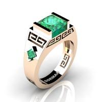 Womens Modern 14K Rose Gold 3.0 Carat Princess Emerald Flanked Kite Wedding Ring G1298F-14KRGEM
