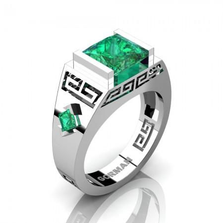 Womens Modern 14K White Gold 3.0 Carat Princess Emerald Flanked Kite Wedding Ring G1298F-14KWGEM