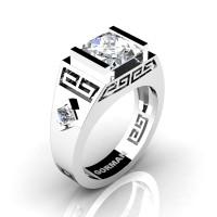 Womens Modern 14K White Gold 3.0 Carat Princess White Sapphire Flanked Kite Wedding Ring G1298F-14KWGWS