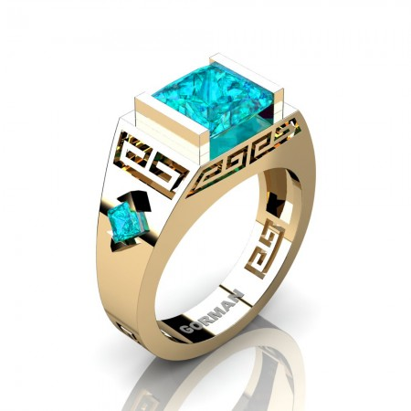 Womens Modern 14K Yellow Gold 3.0 Carat Princess Blue Zircon Flanked Kite Wedding Ring G1298F-14KYGBZ