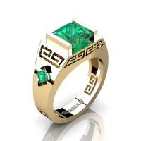 Womens Modern 14K Yellow Gold 3.0 Carat Princess Emerald Flanked Kite Wedding Ring G1298F-14KYGEM