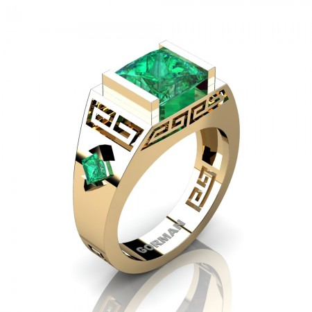 Womens Modern 14K Yellow Gold 3.0 Carat Princess Emerald Flanked Kite Wedding Ring G1298F-14KYGEM