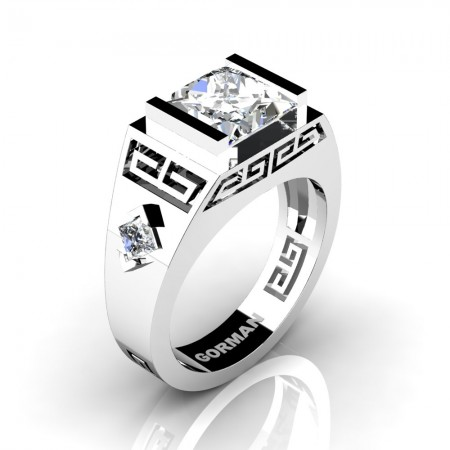 Womens Modern 950 Platinum 3.0 Carat Princess White Sapphire Flanked Kite Wedding Ring G1298F-PLATWS