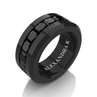 Mens Modern 14K Black Gold Princess Black Diamond Channel Cluster Wedding Ring A1000M-14KBGBD