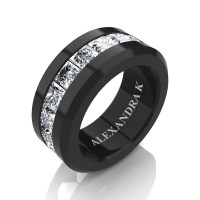 Mens Modern 14K Black Gold Princess White Sapphire Channel Cluster Wedding Ring A1000M-14KBGWS