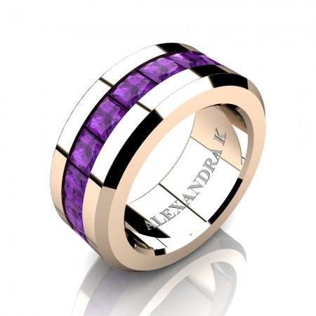 Mens Modern 14K Rose Gold Princess Amethyst Channel Cluster Wedding Ring A1000M-14KRGAM