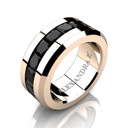 Mens Modern 14K Rose Gold Princess Black Sapphire Channel Cluster Wedding Ring A1000M-14KRGBLS