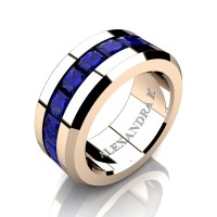 Mens Modern 14K Rose Gold Princess Blue Sapphire Channel Cluster Wedding Ring A1000M-14KRGBS