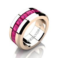Mens Modern 14K Rose Gold Princess Pink Sapphire Channel Cluster Wedding Ring A1000M-14KRGPS