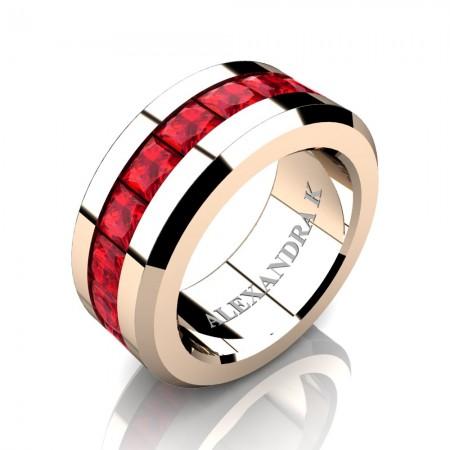 Mens Modern 14K Rose Gold Princess Ruby Channel Cluster Wedding Ring A1000M-14KRGR