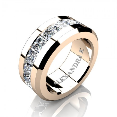 Mens Modern 14K Rose Gold Princess White Sapphire Channel Cluster Wedding Ring A1000M-14KRGWS