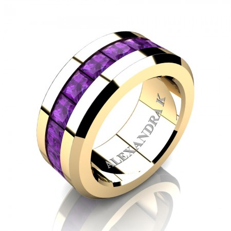 Mens Modern 14K Yellow Gold Princess Amethyst Channel Cluster Wedding Ring A1000M-14KYGAM