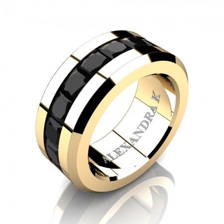 Mens Modern 14K Yellow Gold Princess Black Diamond Channel Cluster Wedding Ring A1000M-14KYGBD
