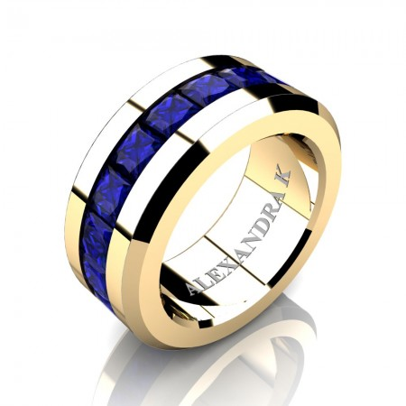 Mens Modern 14K Yellow Gold Princess Blue Sapphire Channel Cluster Wedding Ring A1000M-14KYGBS