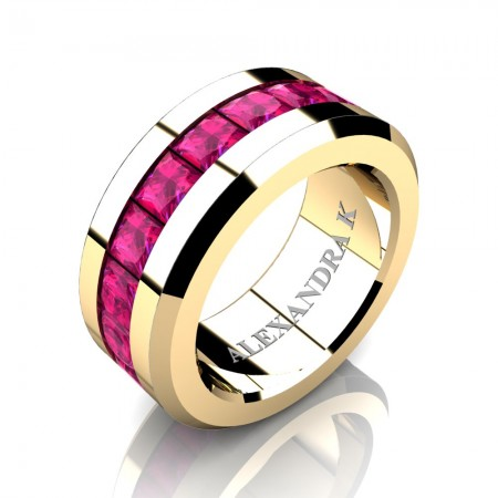 Mens Modern 14K Yellow Gold Princess Pink Sapphire Channel Cluster Wedding Ring A1000M-14KYGPS