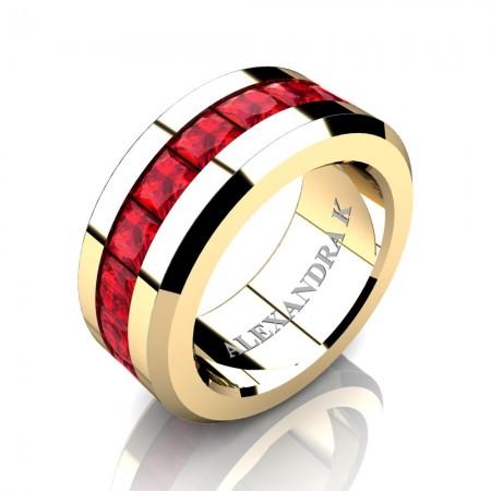 Mens Modern 14K Yellow Gold Princess Ruby Channel Cluster Wedding Ring A1000M-14KYGR