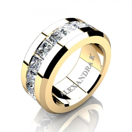 Mens Modern 14K Yellow Gold Princess White Sapphire Channel Cluster Wedding Ring A1000M-14KYGWS