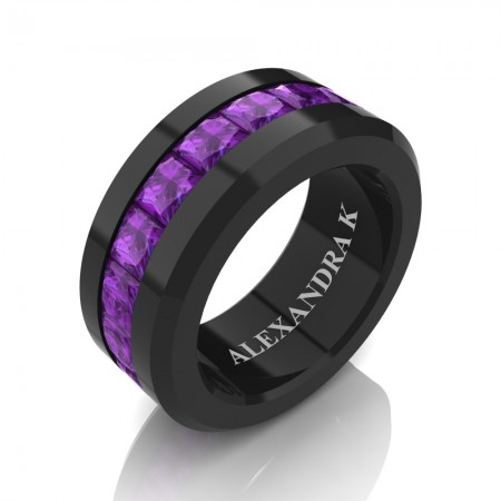 Mens Modern 14K Black Gold Princess Amethyst Channel Cluster Wedding Ring A1000M-14KBGAM