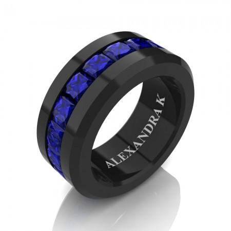 Mens Modern 14K Black Gold Princess Blue Sapphire Channel Cluster Wedding Ring A1000M-14KBGBS