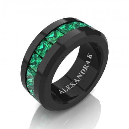 Mens Modern 14K Black Gold Princess Emerald Channel Cluster Wedding Ring A1000M-14KBGEM