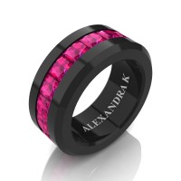 Mens Modern 14K Black Gold Princess Pink Sapphire Channel Cluster Wedding Ring A1000M-14KBGPS