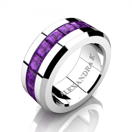 Mens Modern 14K White Gold Princess Amethyst Channel Cluster Wedding Ring A1000M-14KWGAM