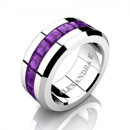 Mens Modern 14K White Gold Princess Amethyst Channel Cluster Wedding Ring A1000M-14KWGAM