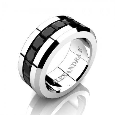 Mens Modern 14K White Gold Princess Black Diamond Channel Cluster Wedding Ring A1000M-14KWGBD