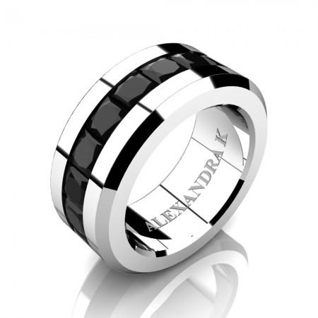 Mens Modern 14K White Gold Princess Black Diamond Channel Cluster Wedding Ring A1000M-14KWGBD