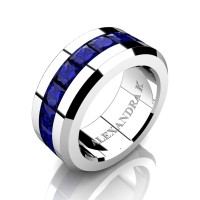 Mens Modern 14K White Gold Princess Blue Sapphire Channel Cluster Wedding Ring A1000M-14KWGBS