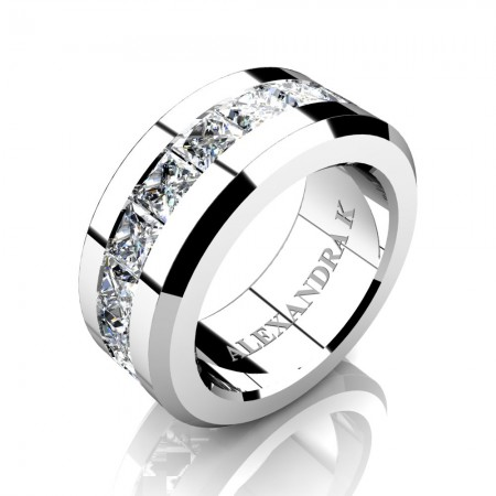 Mens Modern 14K White Gold Princess White Sapphire Channel Cluster Wedding Ring A1000M-14KWGWS