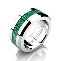 Mens Modern 14K White Gold Princess Emerald Channel Cluster Wedding Ring A1000M-14KWGEM