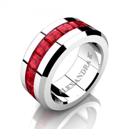 Mens Modern 14K White Gold Princess Ruby Channel Cluster Wedding Ring A1000M-14KWGR