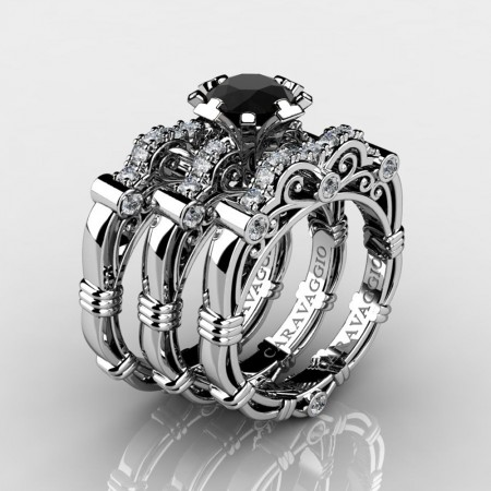Art Masters Caravaggio Trio 950 Platinum 1.0 Ct Black Sapphire Diamond Engagement Ring Wedding Band Set R623S3-PLATDBLS