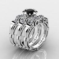 Art Masters Caravaggio Trio 950 Platinum 1.0 Ct Black and White Diamond Engagement Ring Wedding Band Set R623S3-PLATDBD