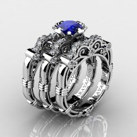 Art Masters Caravaggio Trio 950 Platinum 1.0 Ct Blue Sapphire Diamond Engagement Ring Wedding Band Set R623S3-PLATDBS