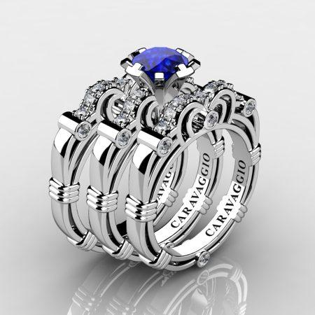 Art Masters Caravaggio Trio 950 Platinum 1.0 Ct Blue Sapphire Diamond Engagement Ring Wedding Band Set R623S3-PLATDBS
