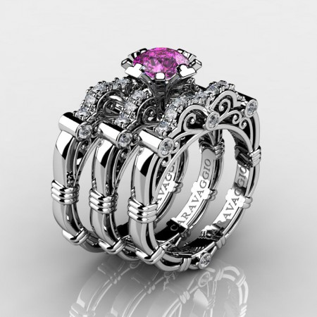 Art Masters Caravaggio Trio 950 Platinum 1.0 Ct Light Pink Sapphire Diamond Engagement Ring Wedding Band Set R623S3-PLATDLPS