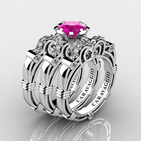 Art Masters Caravaggio Trio 950 Platinum 1.0 Ct Pink Sapphire Diamond Engagement Ring Wedding Band Set R623S3-PLATDPS