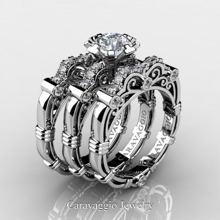 Art Masters Caravaggio Trio 950 Platinum 1.0 Ct White Sapphire Diamond Engagement Ring Wedding Band Set R623S3-PLATDWS