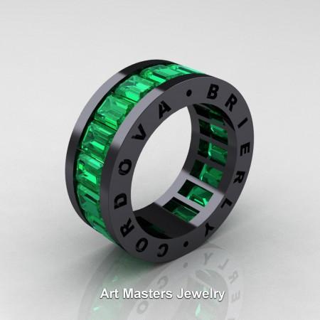 Mens Modern 14K Black Gold Emerald Channel Cluster Infinity Wedding Band R174-14KBGEM