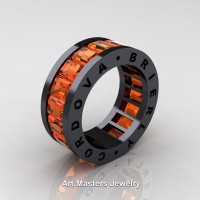 Mens Modern 14K Black Gold Orange Sapphire Channel Cluster Infinity Wedding Band R174-14KBGOS