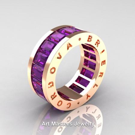 Mens Modern 14K Rose Gold Amethyst Channel Cluster Infinity Wedding Band R174-14KRGAM