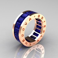 Mens Modern 14K Rose Gold Blue Sapphire Channel Cluster Infinity Wedding Band R174-14KRGBS