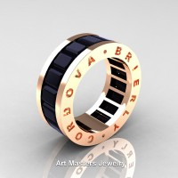 Mens Modern 14K Rose Gold Black Sapphire Channel Cluster Infinity Wedding Band R174-14KRGBLS