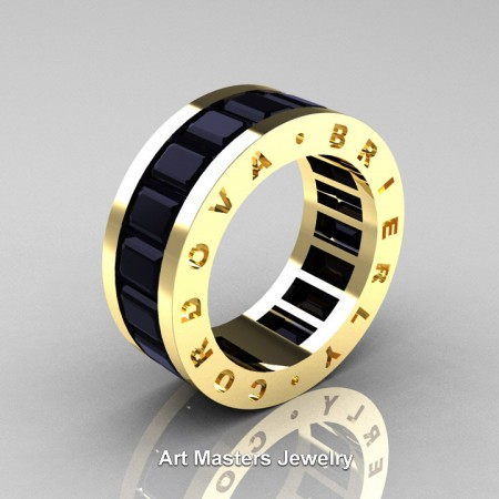 Mens Modern 14K Yellow Gold Black Sapphire Channel Cluster Infinity Wedding Band R174-14KYGBLS