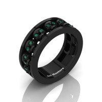 Mens Modern 14K Black Gold Emerald Skull Channel Cluster Wedding Ring R913-14KBGEM