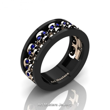Mens-Modern-14K-Black-Rose-Gold-Blue-Sapphire-Skull-Channel-Cluster-Wedding-Ring-R913-14KBRGBS-P